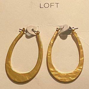 Loft Elegant Gold Hammered Hoop Earrings  NEW